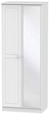 Warwick White 2 Door Tall Mirror Wardrobe
