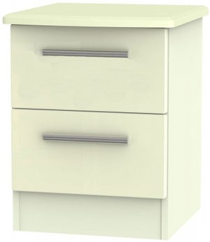 Clearance - Knightsbridge Cream 2 Drawer Bedside Cabinet - New - A-161