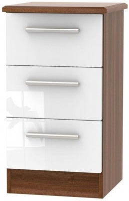 Clearance - Knightsbridge High Gloss White and Noche Walnut 3 Drawer Bedside Cabinet - New - A-125