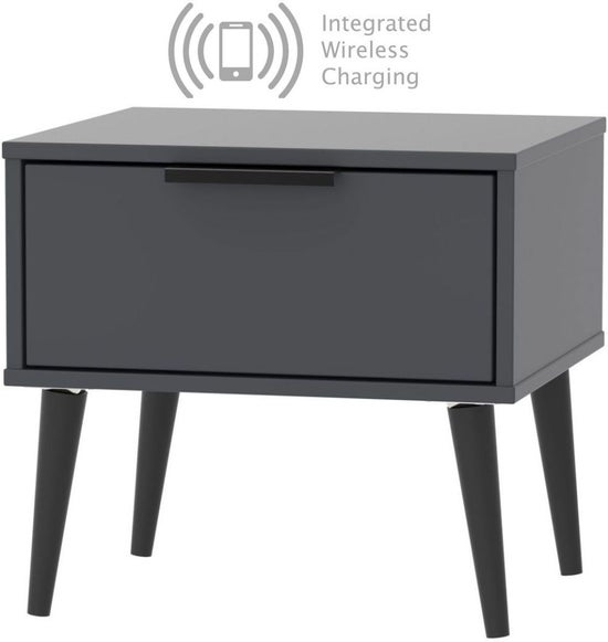 Clearance - Hong Kong Graphite 1 Drawer Bedside Cabinet with Wooden Legs and Integrated Wireless Charging - New - FSS8781