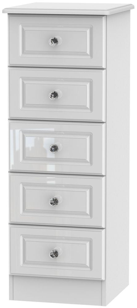 Clearance - Balmoral High Gloss White 5 Drawer Tall Chest - New - P-21