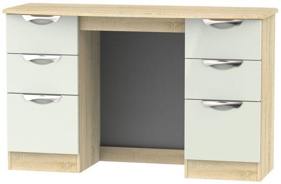 Clearance - Camden Double Pedestal Dressing Table - High Gloss Kaschmir and Bardolino - New - P-65