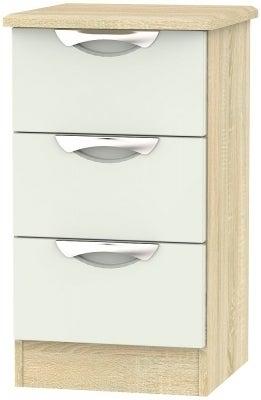 Clearance - Camden High Gloss Kaschmir 3 Drawer Bedside Cabinet - New - P-28