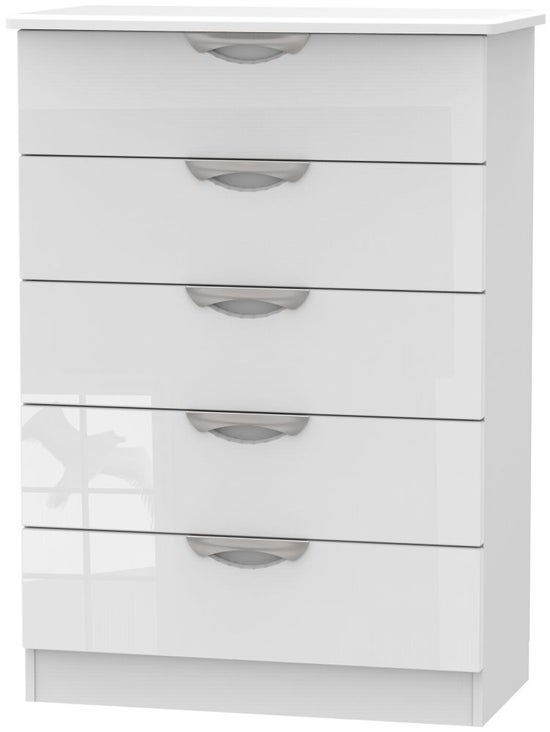 Clearance - Camden High Gloss White 5 Drawer Chest - New - P-33