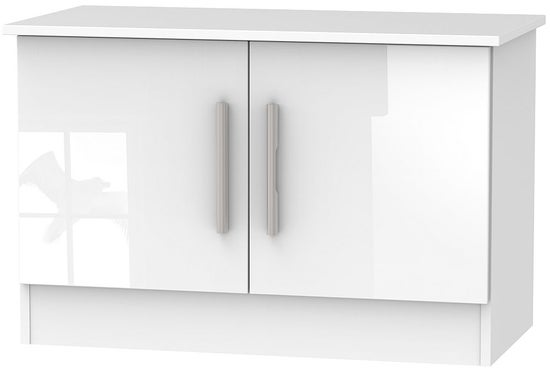Clearance - Contrast High Gloss White 2 Door Low Unit - New - P-59