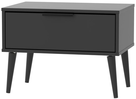Clearance - Hong Kong Black 1 Drawer Midi Chest with Wooden Legs - New - P-72