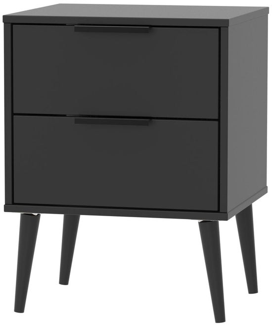 Clearance - Hong Kong Black 2 Drawer Bedside Cabinet with Wooden Legs - New - P-29