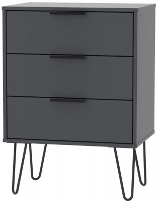 Clearance - Hong Kong Graphite 2 Drawer Bedside Cabinet with Wooden Legs - New - P-74