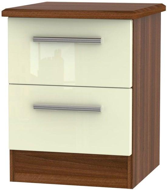 Clearance - Knightsbridge 2 Drawer Bedside Cabinet - High Gloss Cream and Noche Walnut - New - P-71