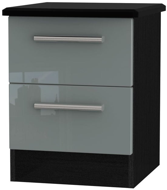 Clearance - Knightsbridge 2 Drawer Bedside Cabinet - High Gloss Grey and Black - New - P-67