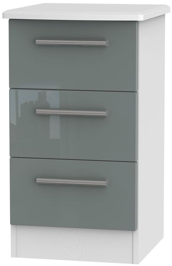 Clearance - Knightsbridge 3 Drawer Bedside Cabinet - High Gloss Grey and White - New - P-25