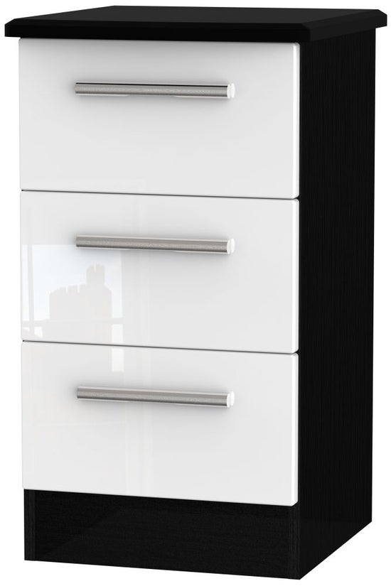 Clearance - Knightsbridge 3 Drawer Bedside Cabinet - High Gloss White and Black - New - P-75