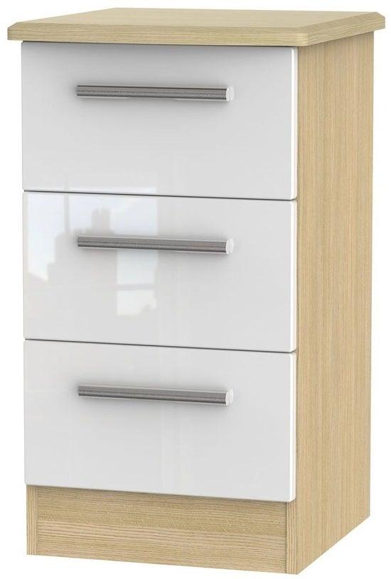Clearance - Knightsbridge 3 Drawer Bedside Cabinet - High Gloss White and Light Oak - New - P-1
