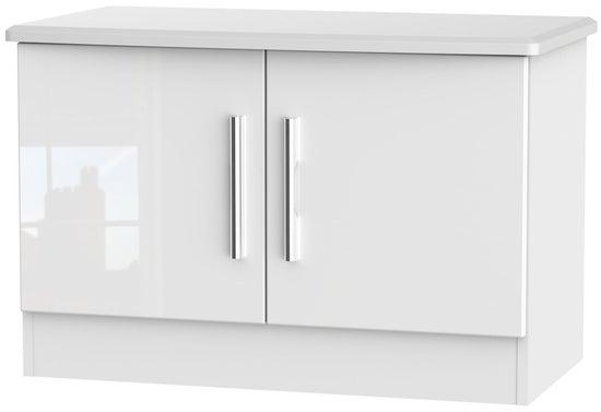 Clearance - Knightsbridge High Gloss White 2 Door Low Unit - New - P-57