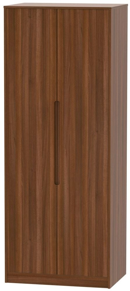 Clearance - Monaco Noche Walnut 2 Door Tall Wardrobe - New - P-98