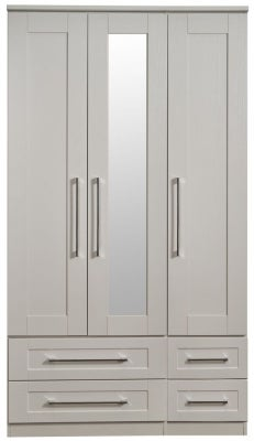 York Kaschmir Ash 3 Door Tall Mirror Combi Wardrobe