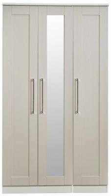 York Kaschmir Ash 3 Door Tall Mirror Wardrobe