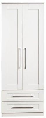 York White Ash 2 Door 2 Drawer Tall Wardrobe