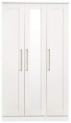 York White Ash 3 Door Tall Mirror Wardrobe