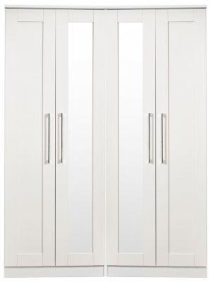 York White Ash 4 Door Tall Mirror Wardrobe