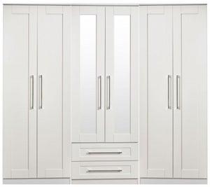 York White Ash 6 Door Tall Mirror Combi Wardrobe