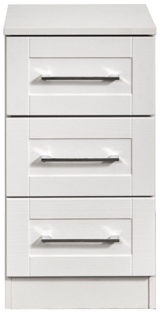 York White Ash 3 Drawer Bedside Cabinet