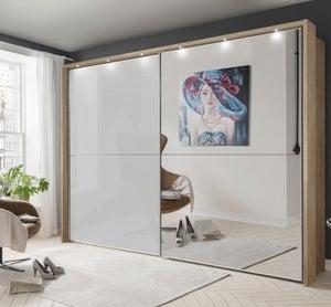 Wiemann Berlin 2 Door Mirror Sliding Wardrobe in Oak and White Glass - W 300cm