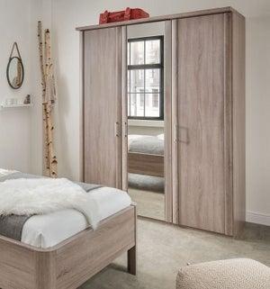 Wiemann Bern 3 Door Mirror Wardrobe in Rustic Oak - W 150cm