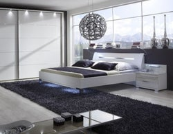 Wiemann Hollywood 4 Futon Bed with Glass Effect Inlay Headboard
