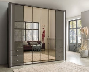 Wiemann Kansas 6 Door Bi-Fold Combi Wardrobe in Havana Glass with Passepartout - W 250cm - FSS8974