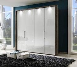 Wiemann Loft 4 Door Bi Fold Wardrobe in Oak and Pebble Grey Glass - W 200cm