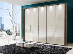 Wiemann Loft 5 Door Bi Fold Wardrobe in Oak and Magnolia Glass - W 250cm
