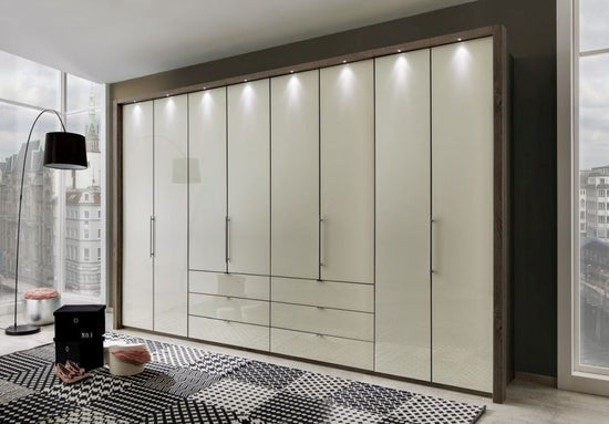 Wiemann Loft Bi-Fold-Panorama Door Functional Wardrobe with Glass Front
