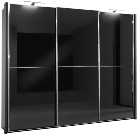 Wiemann Miami2 3 Door Sliding Wardrobe in Black Glass - W 250cm