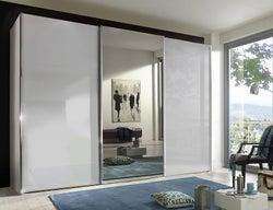 Wiemann Miami Plus 3 Door Mirror Sliding Wardrobe in White Glass - W 300cm
