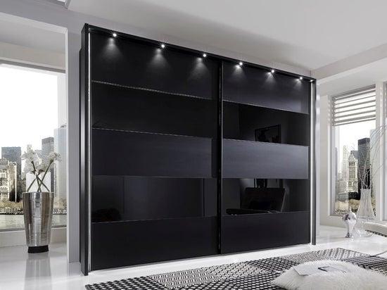 Wiemann Sunset Black Sliding Wardrobe with Line 2-4 in Black Glass - W 300cm
