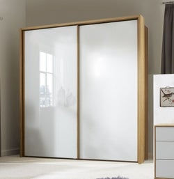 Wiemann Sydney 2 Door Sliding Wardrobe in Oak and White Glass - W 210cm