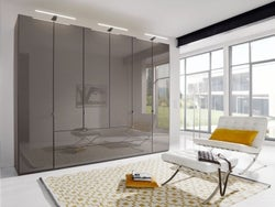 Wiemann VIP Eastside 6 Door Wardrobe in Havana Glass - W 300cm