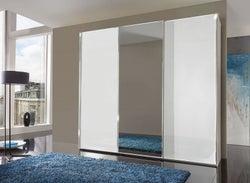 Wiemann VIP Malibu 3 Door Mirror Sliding Wardrobe in White - W 250cm