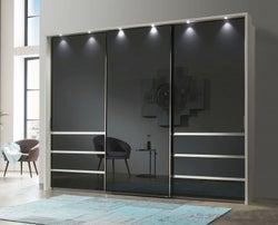 Wiemann VIP Malibu 3 Door Sliding Wardrobe in White and Graphite Glass - W 300cm