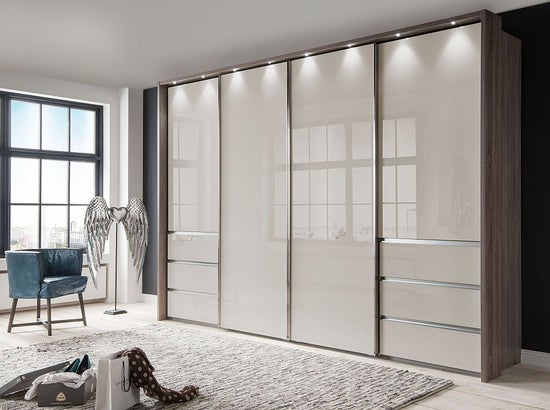 Wiemann VIP Malibu 4 Door Sliding Wardrobe in Oak and Champagne Glass - W 330cm