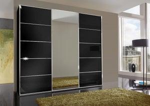 Wiemann VIP Westside 3 Door Mirror Sliding Wardrobe in Black Glass - W 250cm