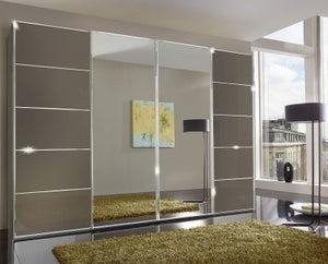 Wiemann VIP Westside 4 Door Mirror Sliding Wardrobe in Havana Glass - W 330cm
