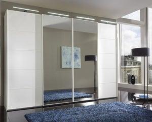 Wiemann VIP Westside 4 Door Mirror Sliding Wardrobe in White Glass - W 330cm