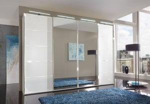 Wiemann VIP Westside Sliding Wardrobe with White Glass Front