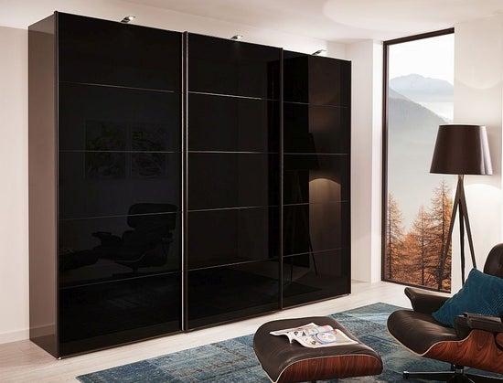 Wiemann VIP Westside 3 Door Sliding Wardrobe in Havana and Black Glass - W 300cm