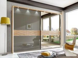 Wiemann Wega 2 Door Right Mirror Sliding Wardrobe in Oak and Havana Glass - W 300cm