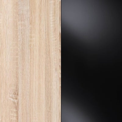 Rustic Oak Carcase with Black Glass Front and Chrome Trims 217