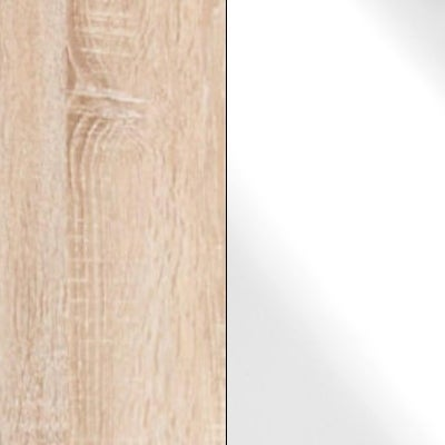 Rustic Oak Carcase and White Glass Front 659