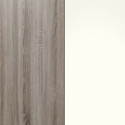 Dark Rustic Oak with White Glass 446